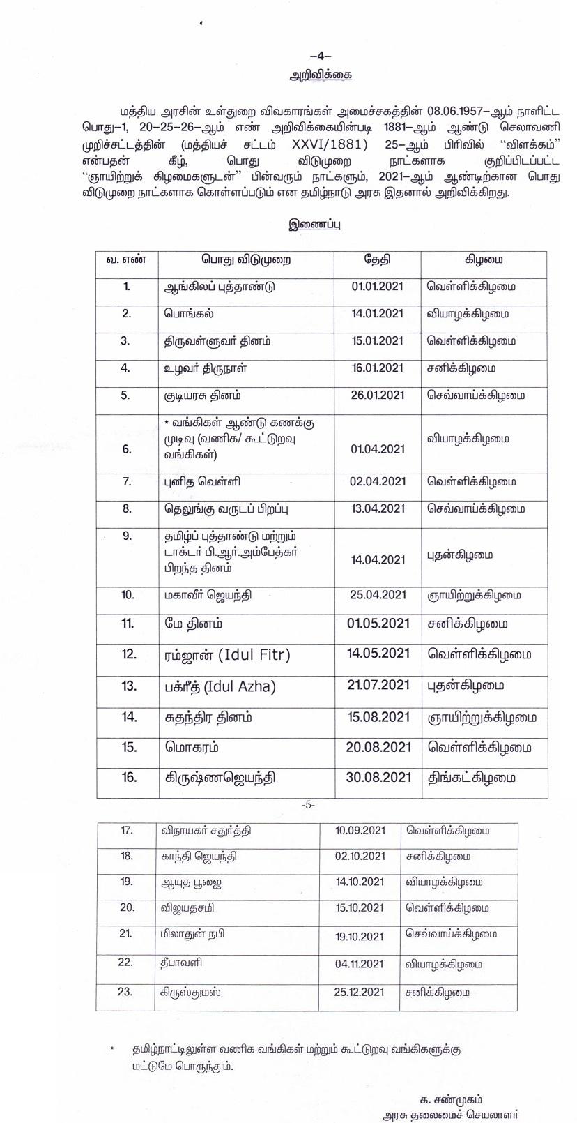 Tamil Nadu Government Holidays 2021 pdf - Bank Holidays in ...
