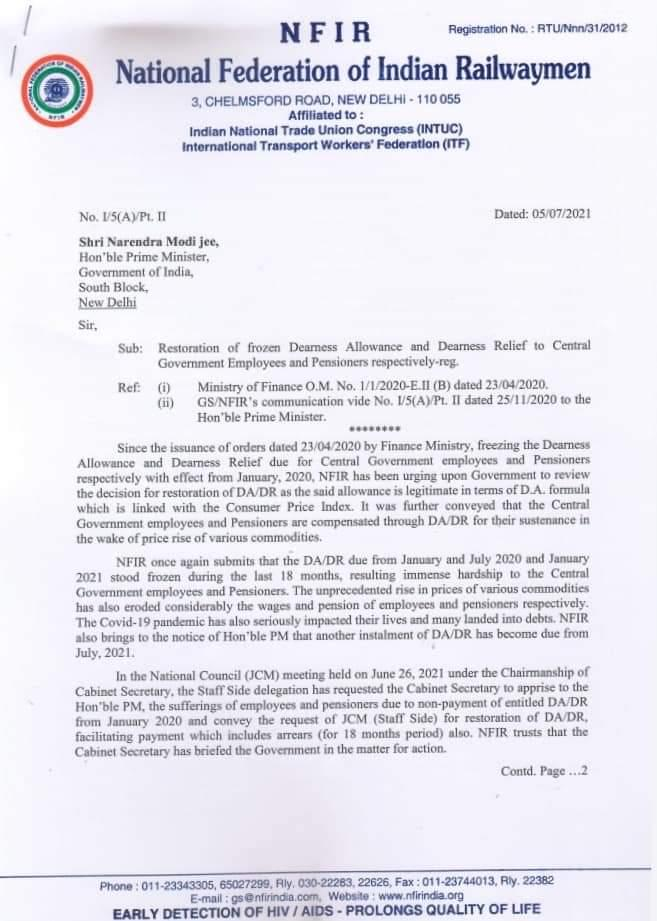 Restoration of frozen Dearness Allowance and Dearness Relief to Central Government Employees and Pensioners - NFIR